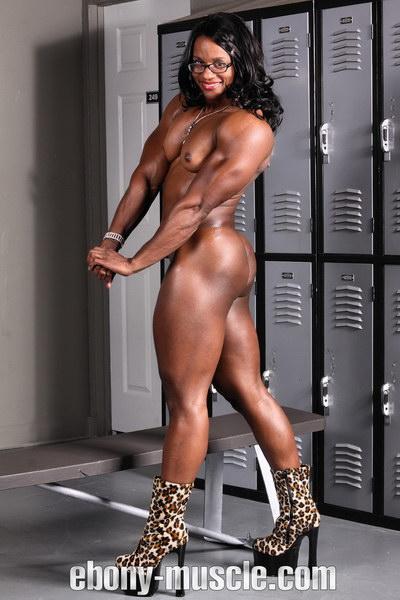 Black female bodybuilder muscle woman